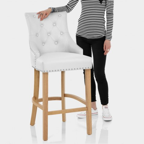 Ascot Oak Stool White Leather Features Image