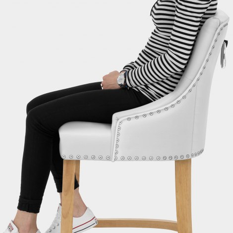 Ascot Oak Stool White Leather Seat Image