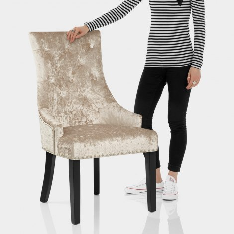 Ascot Dining Chair Beige Velvet Features Image