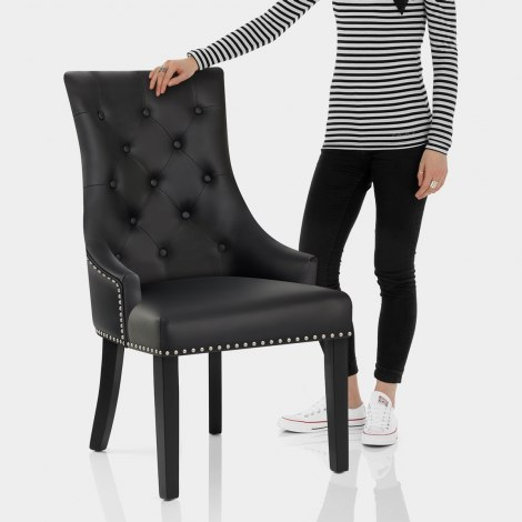 Ascot Dining Chair Black Leather Features Image