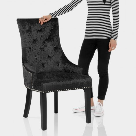Ascot Dining Chair Black Velvet Features Image