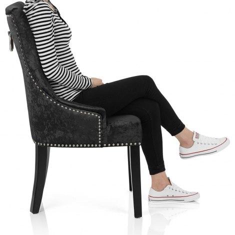 Ascot Dining Chair Black Velvet Seat Image