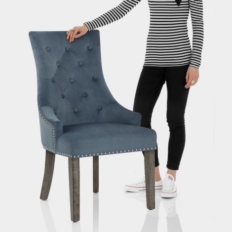 Ascot Dining Chair Blue Fabric Features Image