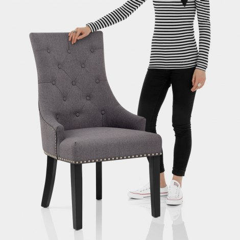 Ascot Dining Chair Charcoal Fabric Features Image