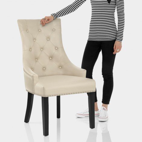 Ascot Dining Chair Cream Leather Features Image