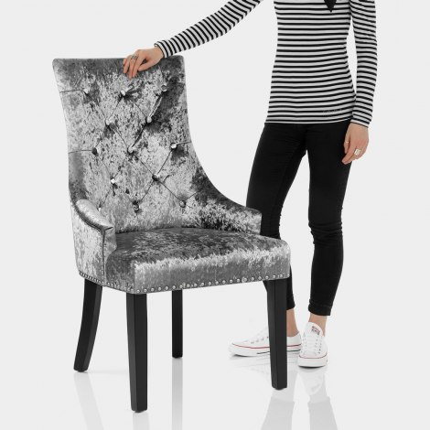 Ascot Dining Chair Grey Velvet Features Image
