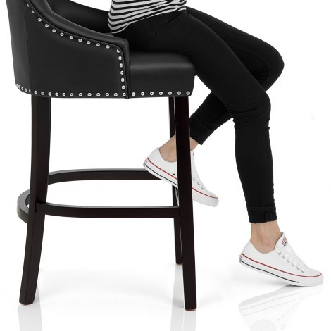 Ascot Bar Stool Black Leather Seat Image