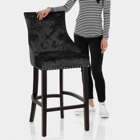Ascot Bar Stool Black Velvet Features Image