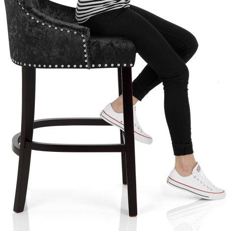 Ascot Bar Stool Black Velvet Seat Image