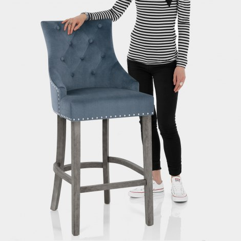 Ascot Bar Stool Blue Fabric Features Image