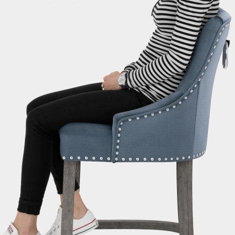 Ascot Bar Stool Blue Fabric Seat Image