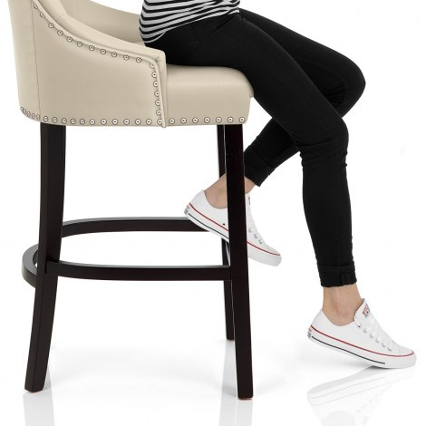 Ascot Bar Stool Cream Leather Frame Image