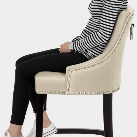Ascot Bar Stool Cream Leather Seat Image