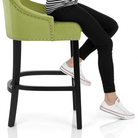 Ascot Bar Stool Green Fabric Seat Image
