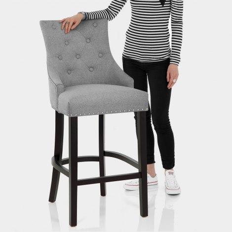 Ascot Bar Stool Grey Fabric Features Image