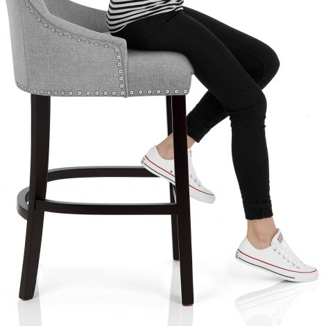 Ascot Bar Stool Grey Fabric Seat Image