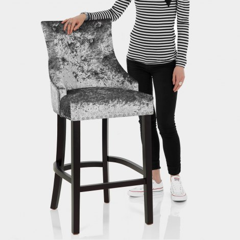 Ascot Bar Stool Grey Velvet Features Image