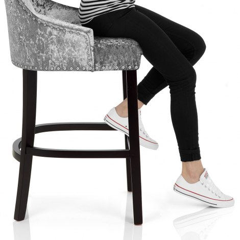 Ascot Bar Stool Grey Velvet Seat Image