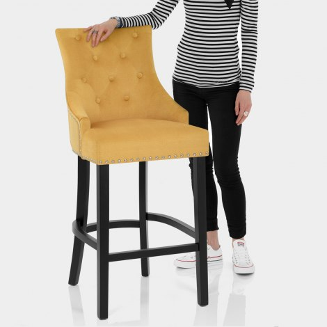 Ascot Bar Stool Mustard Fabric Features Image