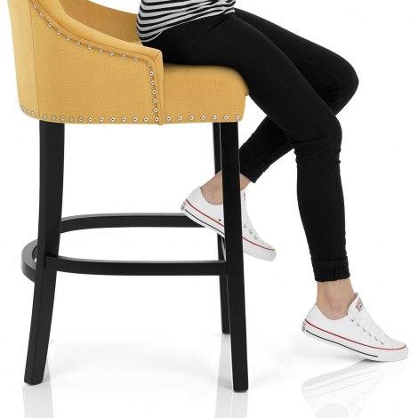 Ascot Bar Stool Mustard Fabric Seat Image