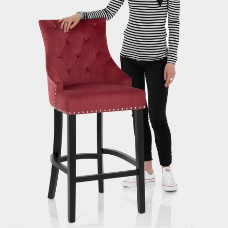 Ascot Bar Stool Red Fabric Features Image