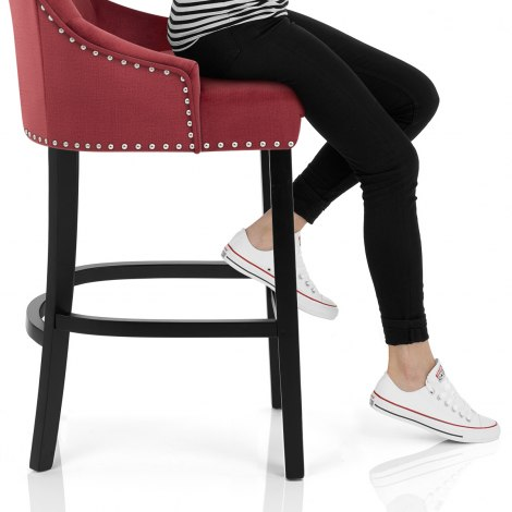 Ascot Bar Stool Red Fabric Seat Image