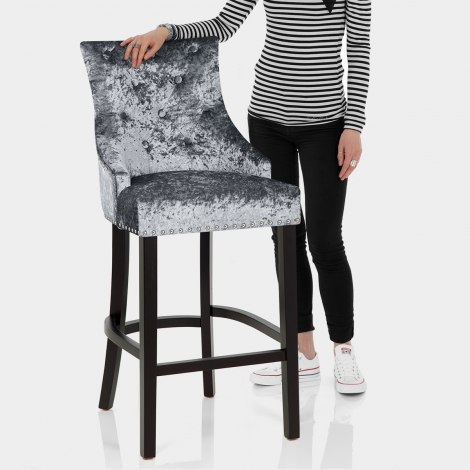 Ascot Bar Stool Steel Grey Velvet Features Image