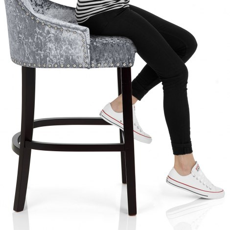 Ascot Bar Stool Steel Grey Velvet Seat Image