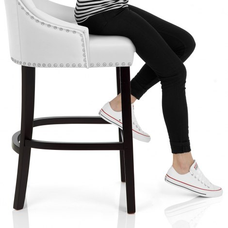 Ascot Bar Stool White Leather Seat Image