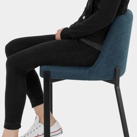 Aspen Bar Stool Blue Fabric Seat Image