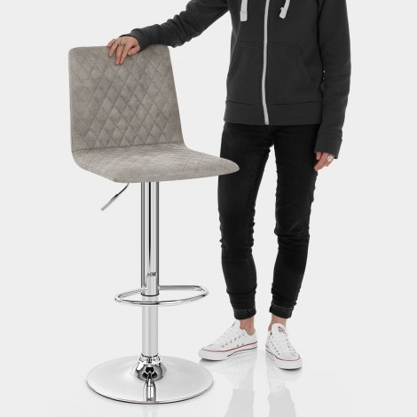 Atlanta Stool Grey Suede Features Image