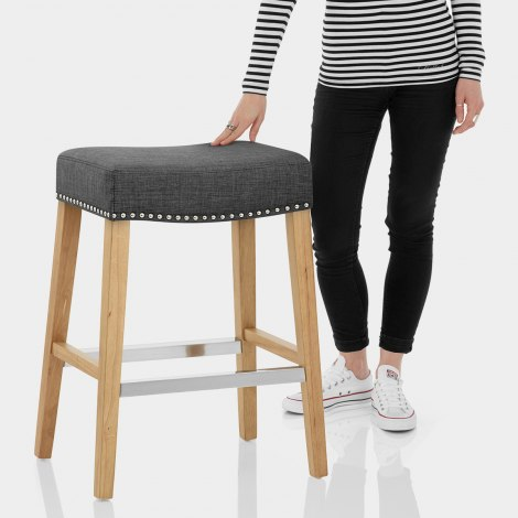 Audley Oak Bar Stool Charcoal Fabric Features Image
