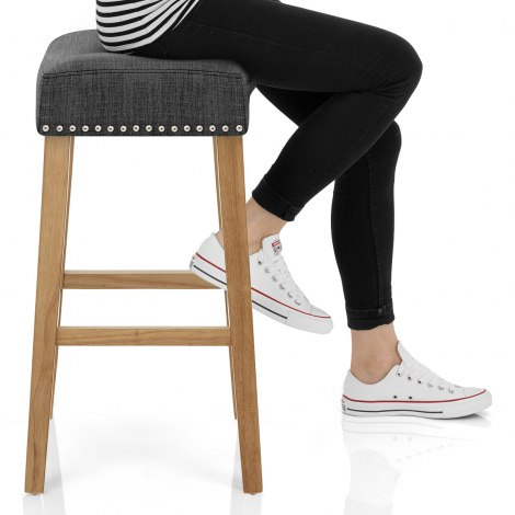 Audley Oak Bar Stool Charcoal Fabric Seat Image