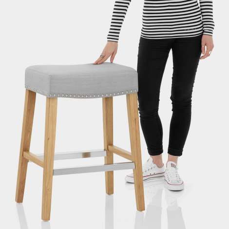 Audley Oak Bar Stool Grey Fabric Features Image