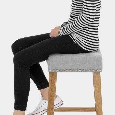 Audley Oak Bar Stool Grey Fabric Seat Image