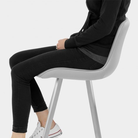 Azure Brushed Steel Stool Grey Seat Image