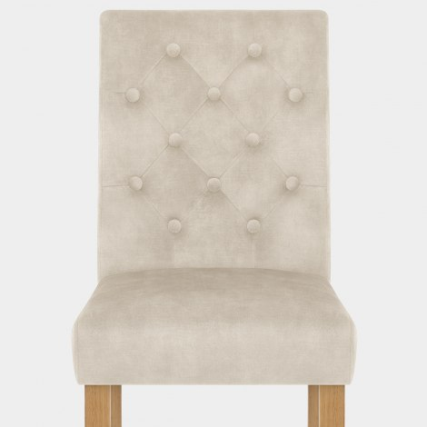 Banbury Oak Dining Chair Beige Velvet Seat Image