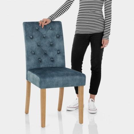Banbury Oak Dining Chair Blue Velvet Features Image