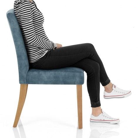 Banbury Oak Dining Chair Blue Velvet Frame Image