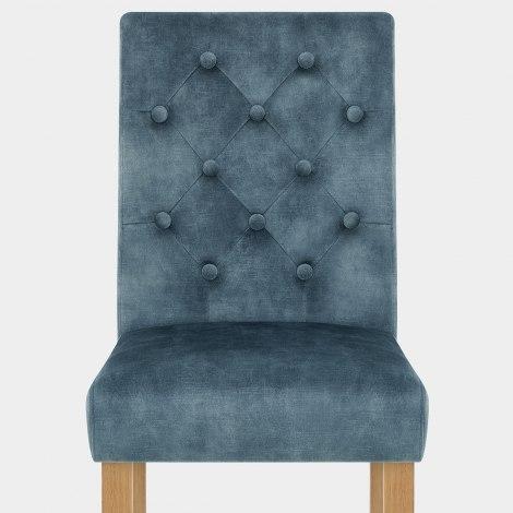 Banbury Oak Dining Chair Blue Velvet Seat Image
