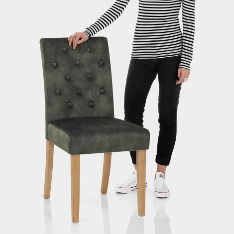 Banbury Oak Dining Chair Green Velvet Features Image