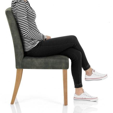 Banbury Oak Dining Chair Green Velvet Frame Image