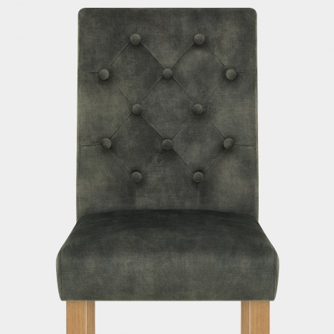 Banbury Oak Dining Chair Green Velvet Seat Image