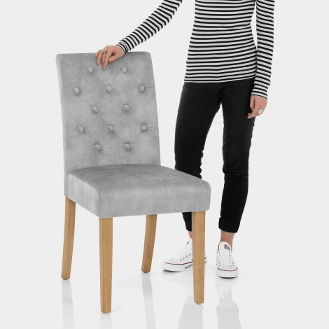 Banbury Oak Dining Chair Grey Velvet Features Image