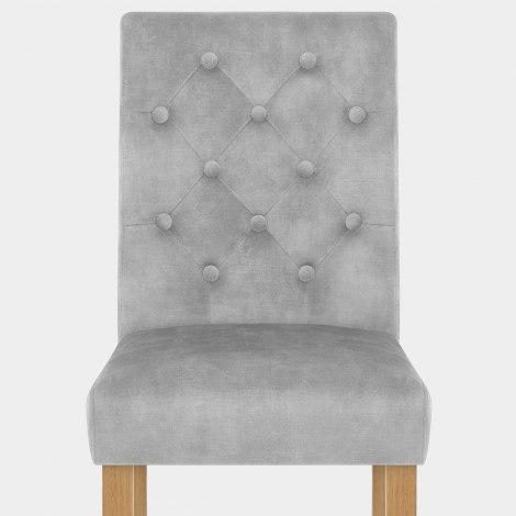 Banbury Oak Dining Chair Grey Velvet Seat Image
