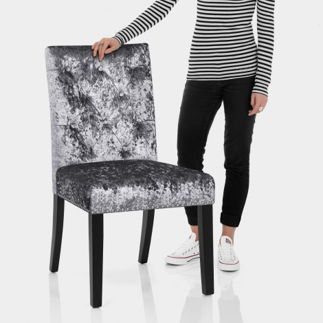 Barrington Dining Chair Grey Velvet Features Image