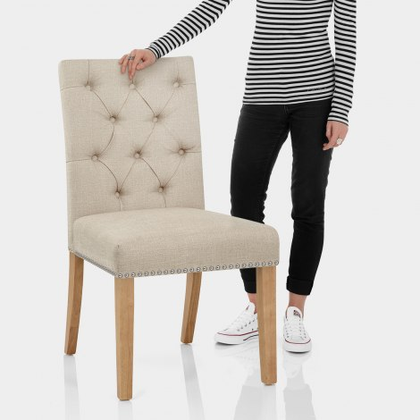 Barrington Oak Dining Chair Cream Fabric Features Image
