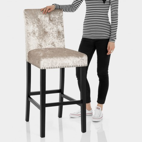 Barrington Bar Stool Beige Velvet Features Image
