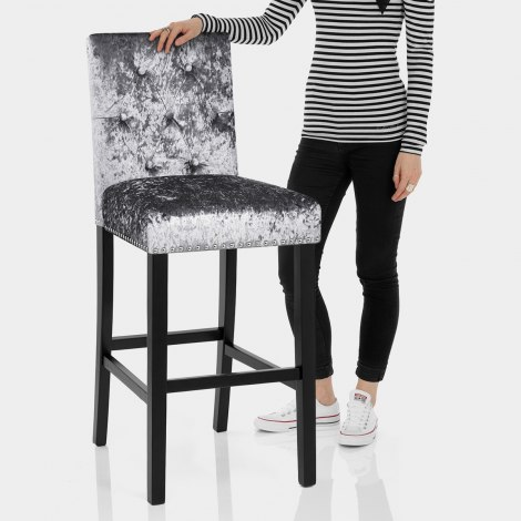 Barrington Bar Stool Grey Velvet Features Image