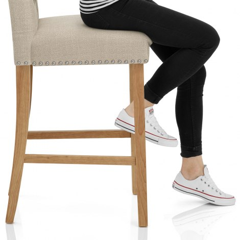 Barrington Oak Stool Cream Fabric Seat Image